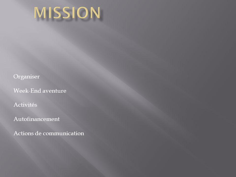 Organiser Week-End aventure Activités Autofinancement Actions de communication
