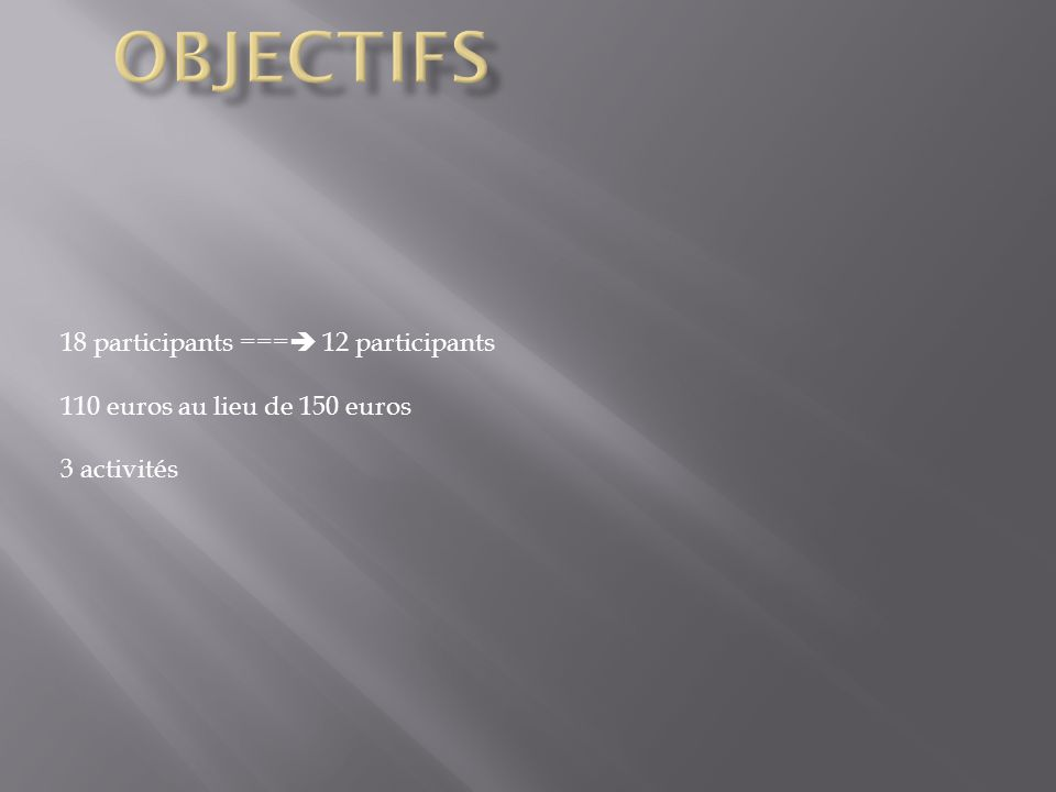 18 participants === 12 participants 110 euros au lieu de 150 euros 3 activités