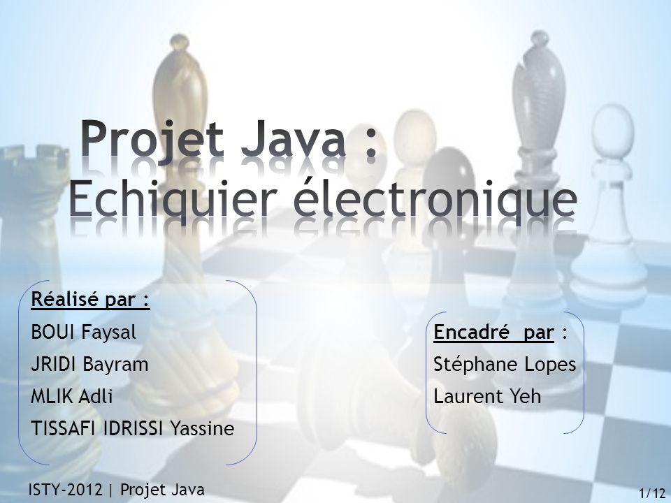 Réalisé par : BOUI FaysalEncadré par : JRIDI Bayram Stéphane Lopes MLIK AdliLaurent Yeh TISSAFI IDRISSI Yassine ISTY-2012 | Projet Java 1/12