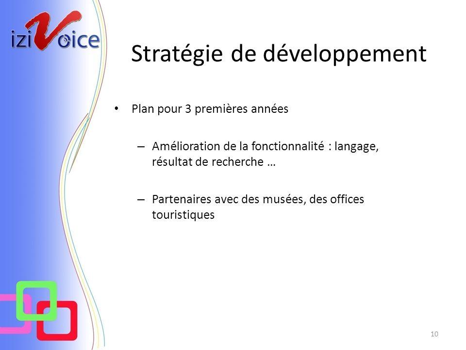 Stratégie de développement 10 Plan pour 3 premières années – Amélioration de la fonctionnalité : langage, résultat de recherche … – Partenaires avec des musées, des offices touristiques