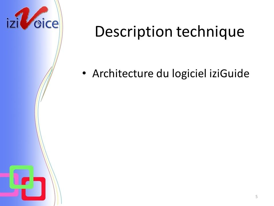 Description technique Architecture du logiciel iziGuide 5