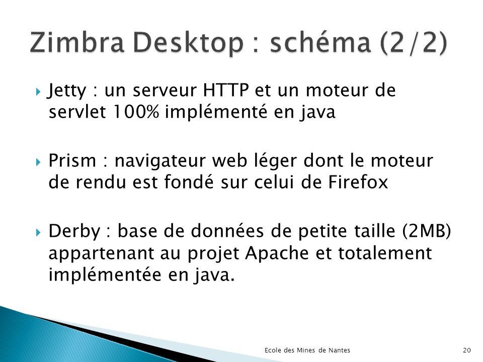 Jetty : un serveur HTTP et un moteur de servlet 100% implémenté en java Prism : navigateur web léger dont le moteur de rendu est fondé sur celui de Fi