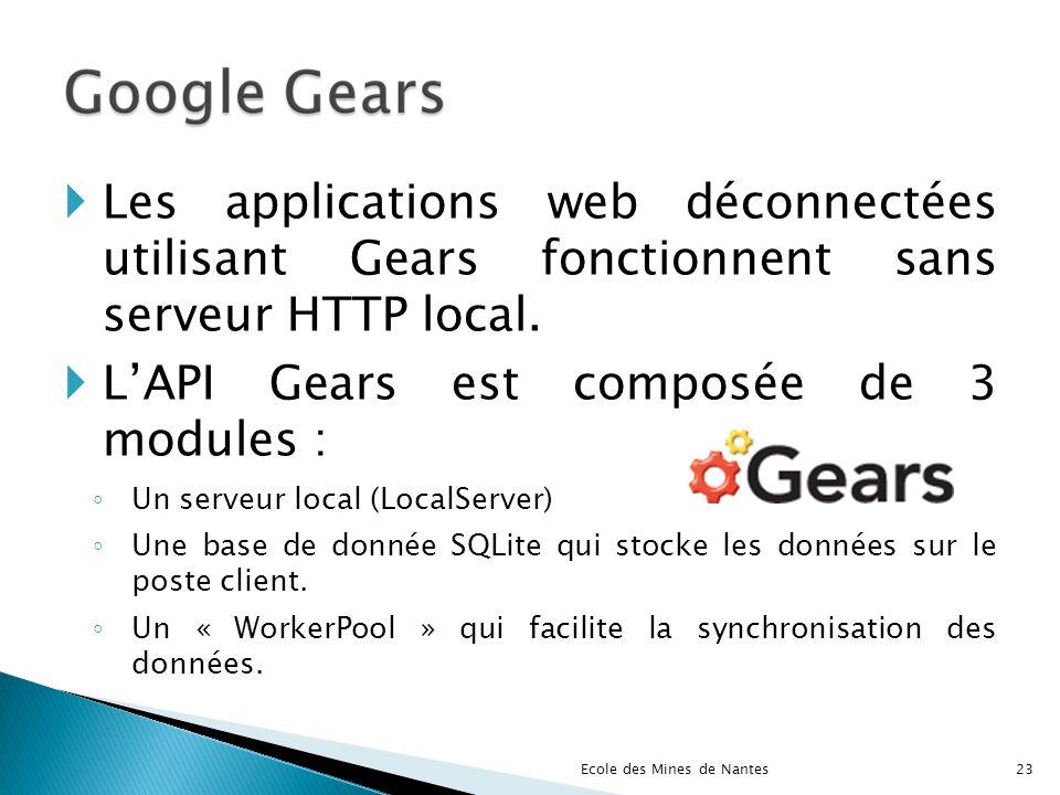 Les applications web déconnectées utilisant Gears fonctionnent sans serveur HTTP local. LAPI Gears est composée de 3 modules : Un serveur local (Local