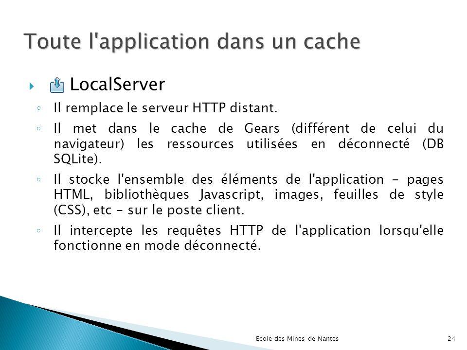 Toute l'application dans un cache LocalServer Il remplace le serveur HTTP distant. Il met dans le cache de Gears (différent de celui du navigateur) le
