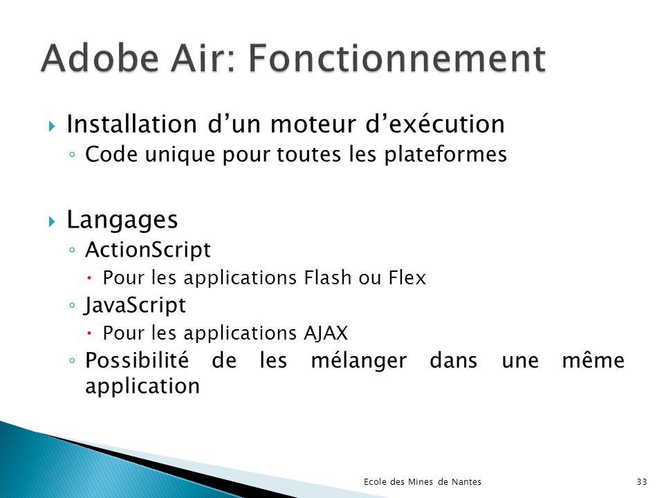 Installation dun moteur dexécution Code unique pour toutes les plateformes Langages ActionScript Pour les applications Flash ou Flex JavaScript Pour l