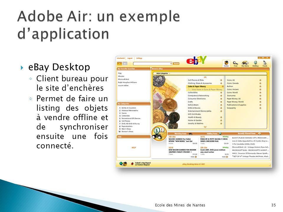 eBay Desktop Client bureau pour le site denchères Permet de faire un listing des objets à vendre offline et de synchroniser ensuite une fois connecté.