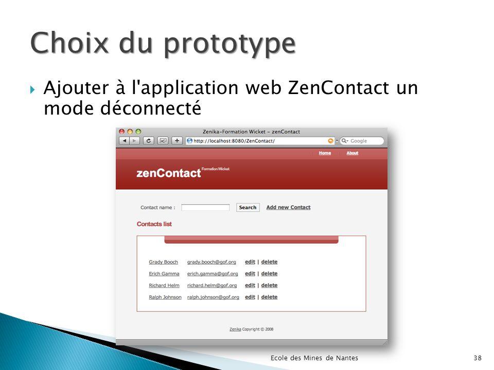 Choix du prototype Ajouter à l'application web ZenContact un mode déconnecté Ecole des Mines de Nantes38