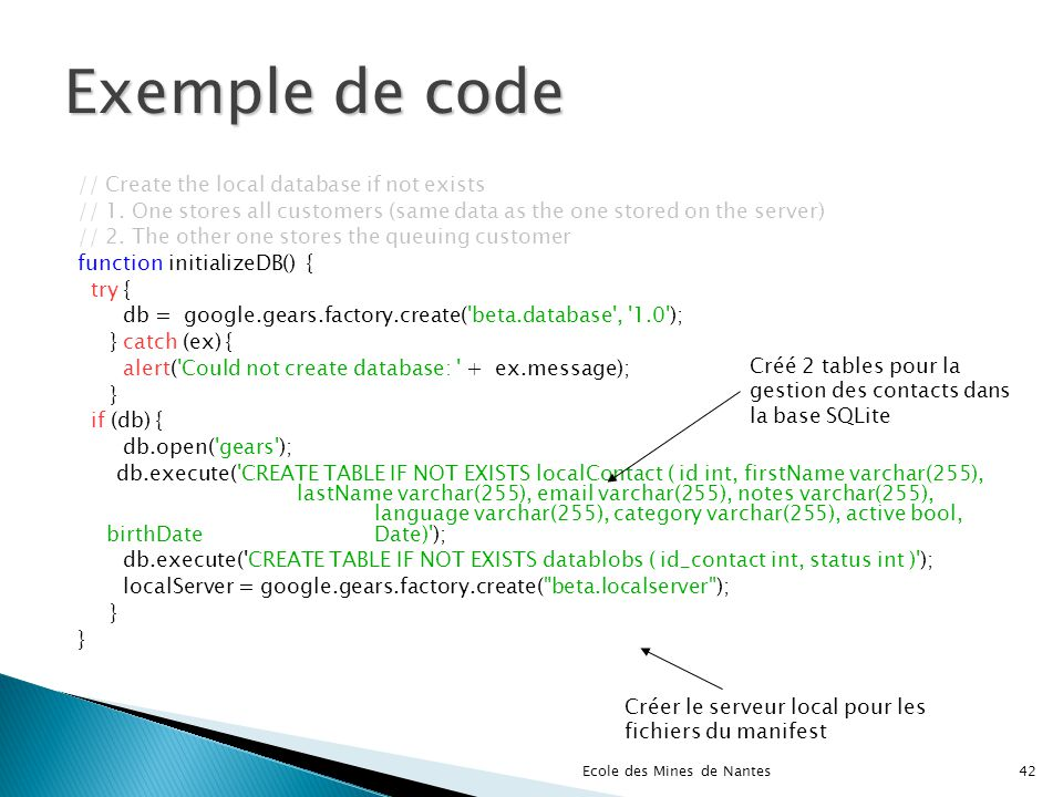 Exemple de code // Create the local database if not exists // 1.