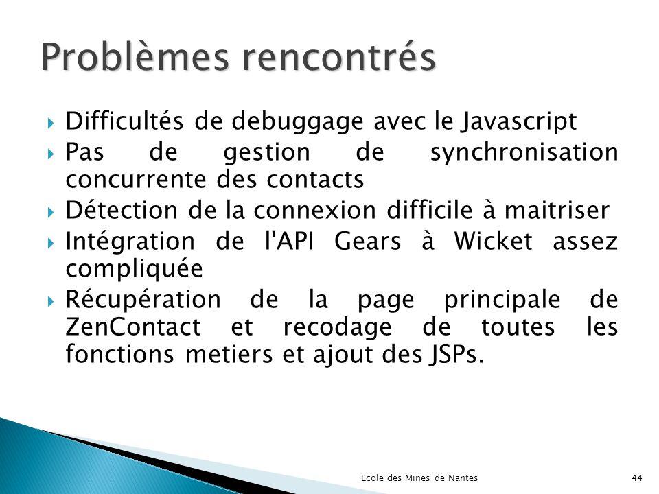 Problèmes rencontrés Difficultés de debuggage avec le Javascript Pas de gestion de synchronisation concurrente des contacts Détection de la connexion
