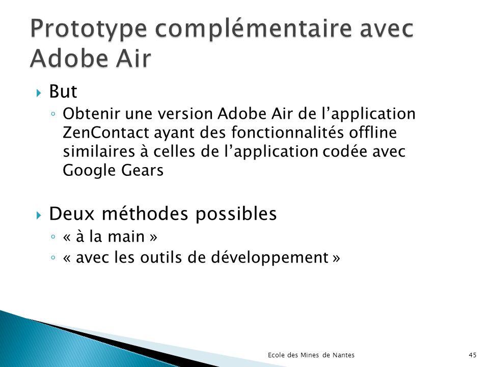 But Obtenir une version Adobe Air de lapplication ZenContact ayant des fonctionnalités offline similaires à celles de lapplication codée avec Google G