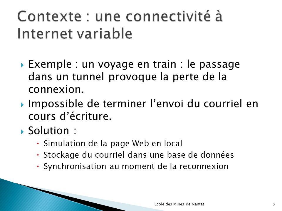 Complet, fiable, évolutif Communauté active Déjà présent dans certaines applications Récemment Gmail Evolutions rapides Apparition de premiers « framework » facilitateurs Ecole des Mines de Nantes56