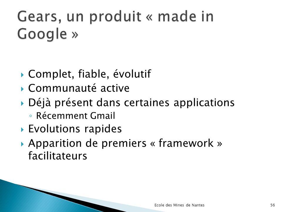 Complet, fiable, évolutif Communauté active Déjà présent dans certaines applications Récemment Gmail Evolutions rapides Apparition de premiers « frame