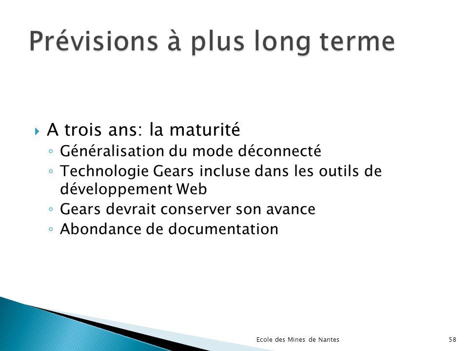 A trois ans: la maturité Généralisation du mode déconnecté Technologie Gears incluse dans les outils de développement Web Gears devrait conserver son