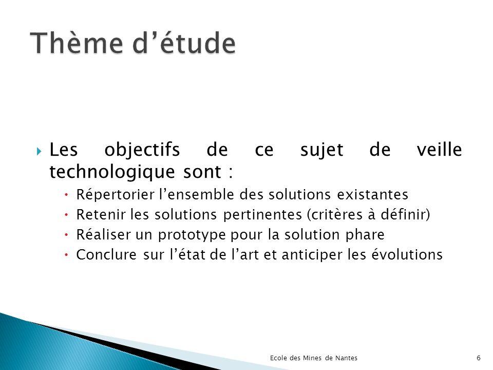 Les objectifs de ce sujet de veille technologique sont : Répertorier lensemble des solutions existantes Retenir les solutions pertinentes (critères à