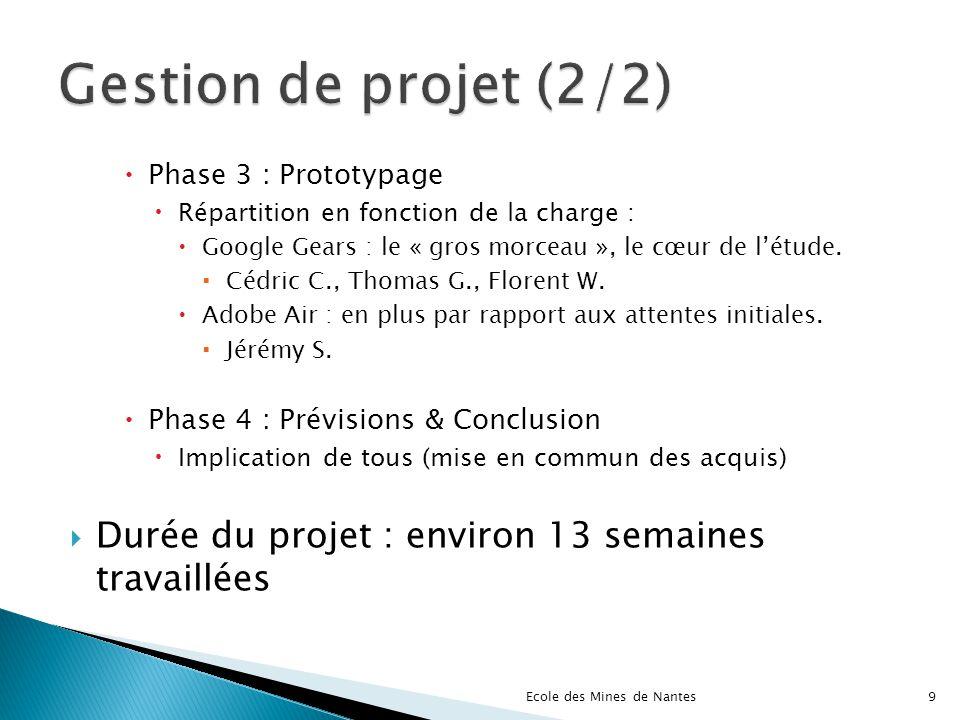 Phase 3 : Prototypage Répartition en fonction de la charge : Google Gears : le « gros morceau », le cœur de létude. Cédric C., Thomas G., Florent W. A