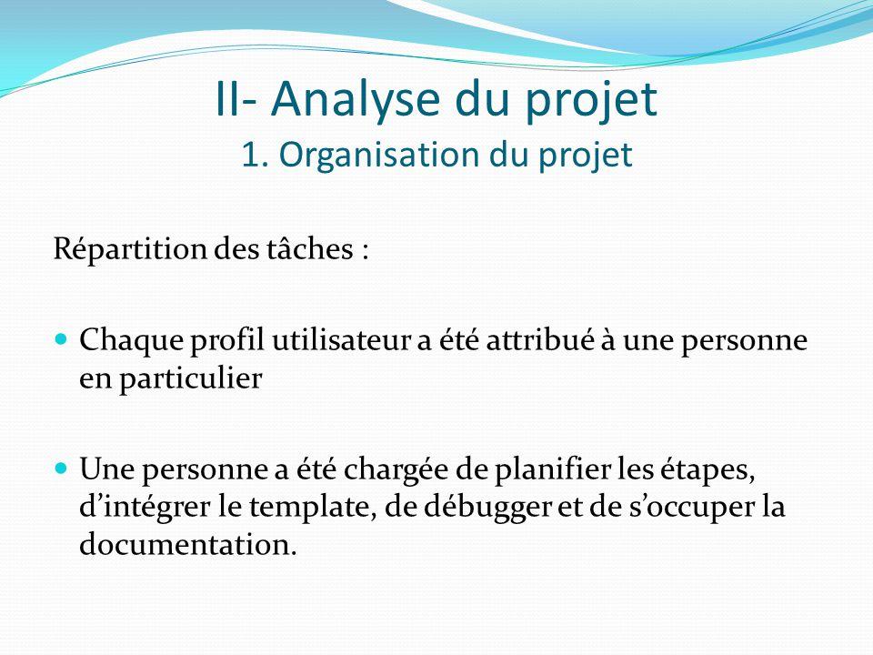 II- Analyse du projet 1.