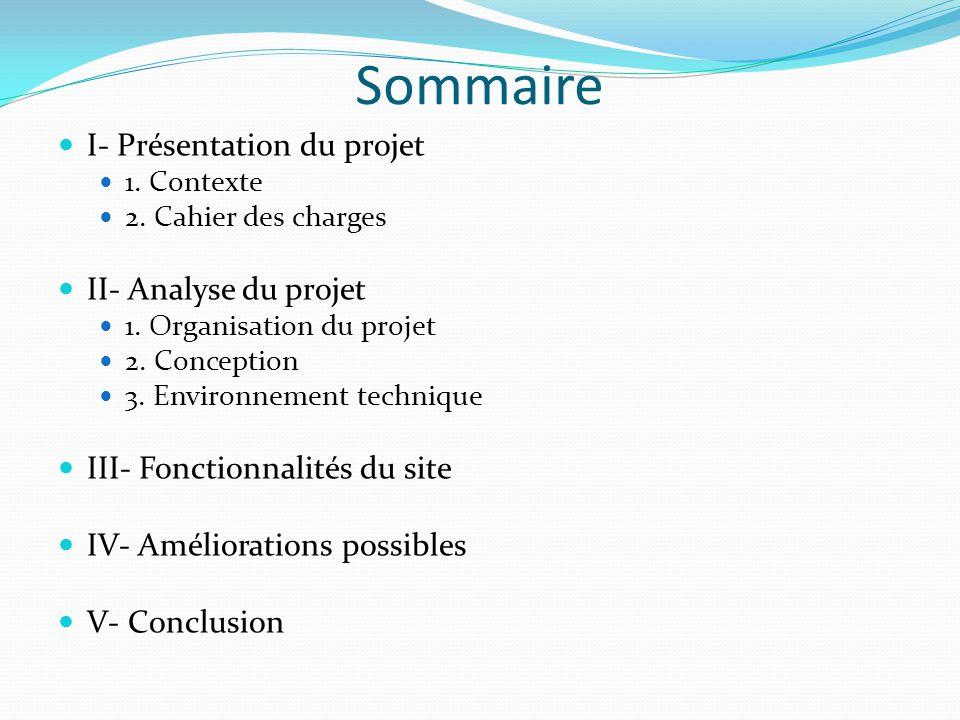 Sommaire I- Présentation du projet 1.Contexte 2. Cahier des charges II- Analyse du projet 1.