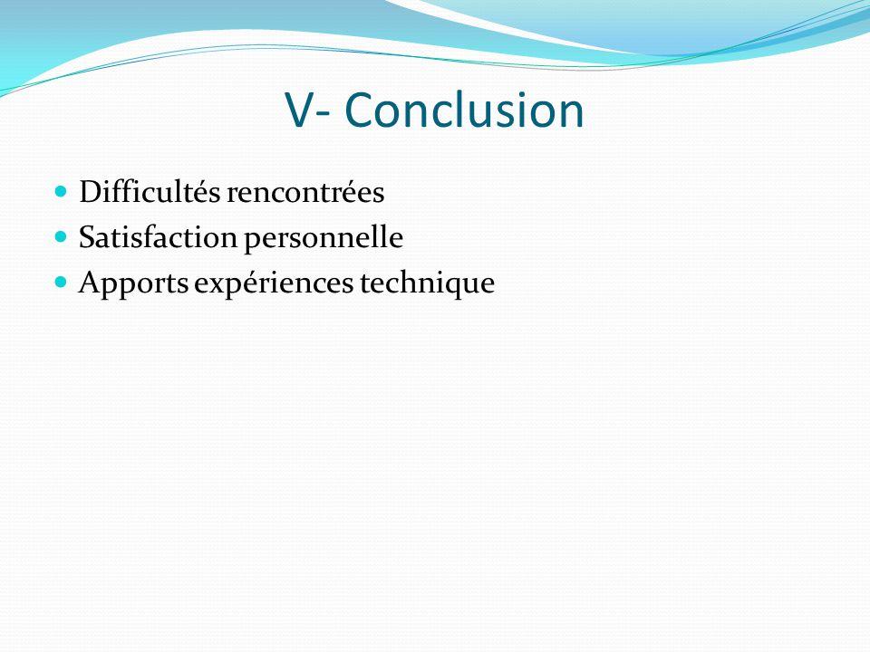 V- Conclusion Difficultés rencontrées Satisfaction personnelle Apports expériences technique