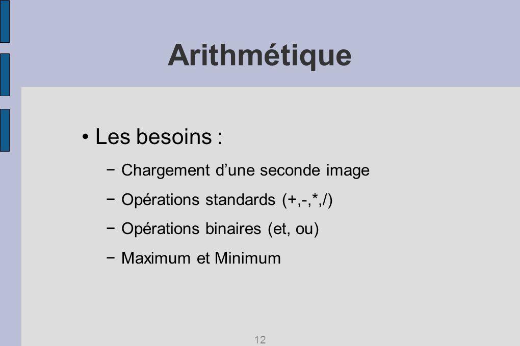 Arithmétique Les besoins : Chargement dune seconde image Opérations standards (+,-,*,/) Opérations binaires (et, ou) Maximum et Minimum 12
