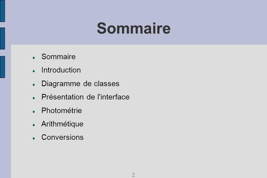 Sommaire Introduction Diagramme de classes Présentation de l interface Photométrie Arithmétique Conversions 2