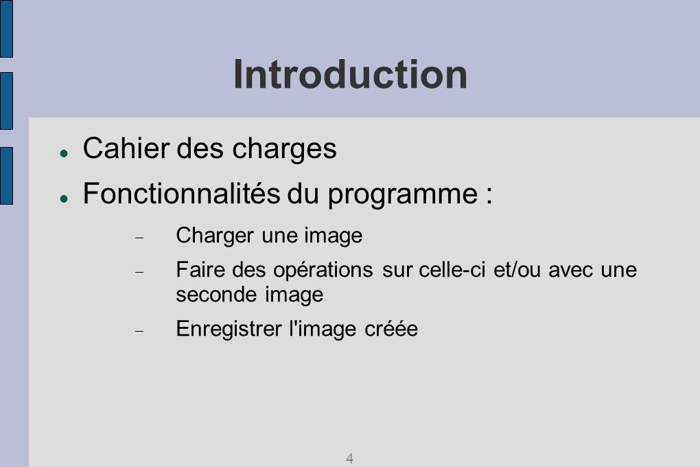 Introduction Cahier des charges Fonctionnalités du programme : Charger une image Faire des opérations sur celle-ci et/ou avec une seconde image Enregistrer l image créée 4