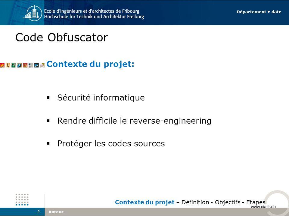 Code Obfuscator Contexte du projet: Sécurité informatique Rendre difficile le reverse-engineering Protéger les codes sources Auteur 2 Département date Contexte du projet – Définition - Objectifs - Etapes