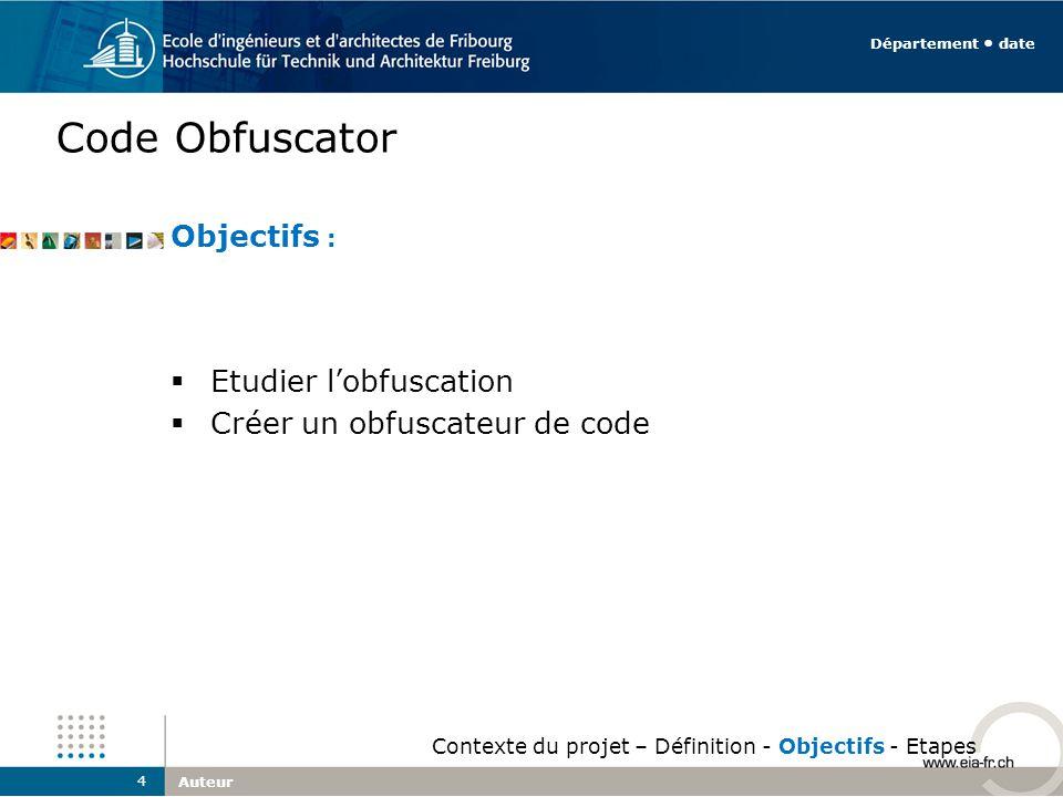 Code Obfuscator Auteur 4 Département date Contexte du projet – Définition - Objectifs - Etapes Objectifs : Etudier lobfuscation Créer un obfuscateur d