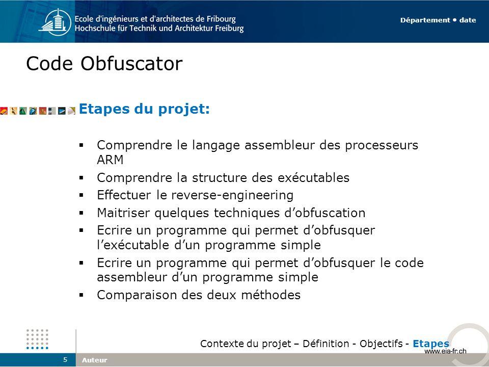 Code Obfuscator Etapes du projet: Comprendre le langage assembleur des processeurs ARM Comprendre la structure des exécutables Effectuer le reverse-en