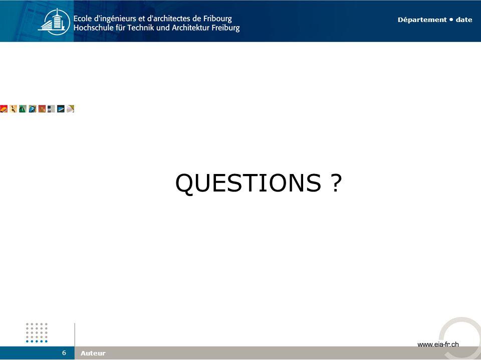 QUESTIONS ? Auteur 6 Département date