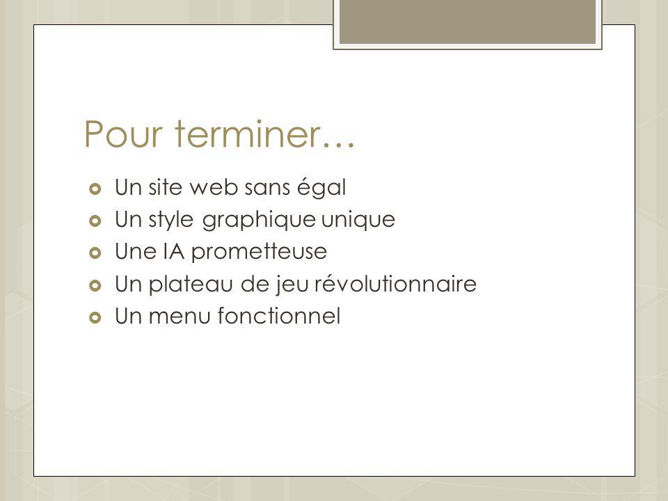 Pour terminer… Un site web sans égal Un style graphique unique Une IA prometteuse Un plateau de jeu révolutionnaire Un menu fonctionnel
