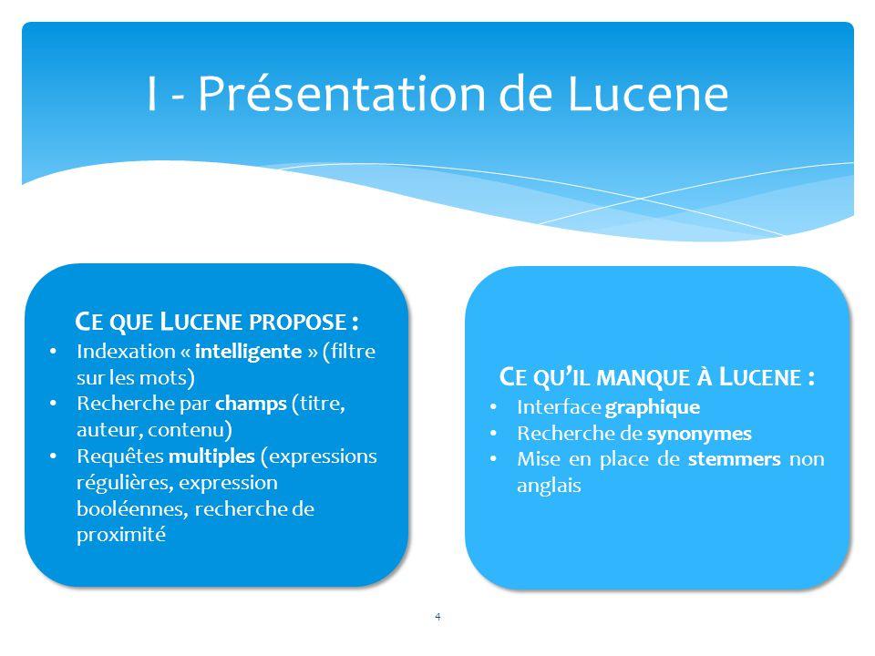 4 I - Présentation de Lucene C E QUE L UCENE PROPOSE : Indexation « intelligente » (filtre sur les mots) Recherche par champs (titre, auteur, contenu)