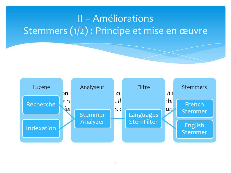 7 II – Améliorations Stemmers (1/2) : Principe et mise en œuvre « La racinisation est le nom donné au procédé qui vise à transformer les flexions en l