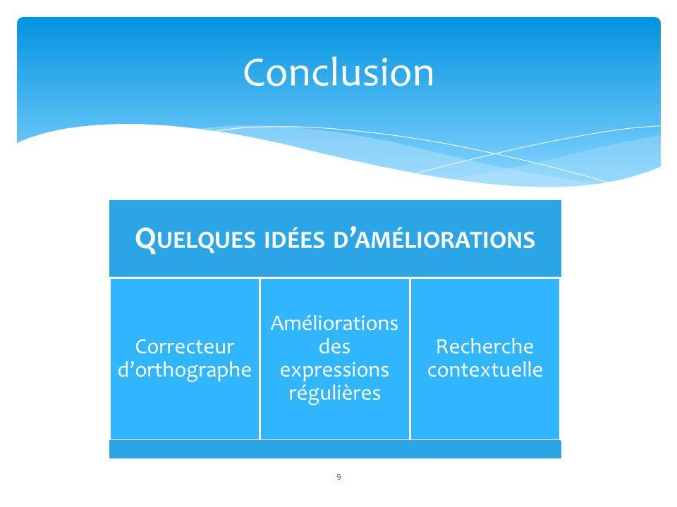 9 Conclusion Q UELQUES DIFFICULTÉS RENCONTRÉES Formation à Lucene Choix des fonctionnalités Organisation du groupe Q UELQUES IDÉES D AMÉLIORATIONS Cor