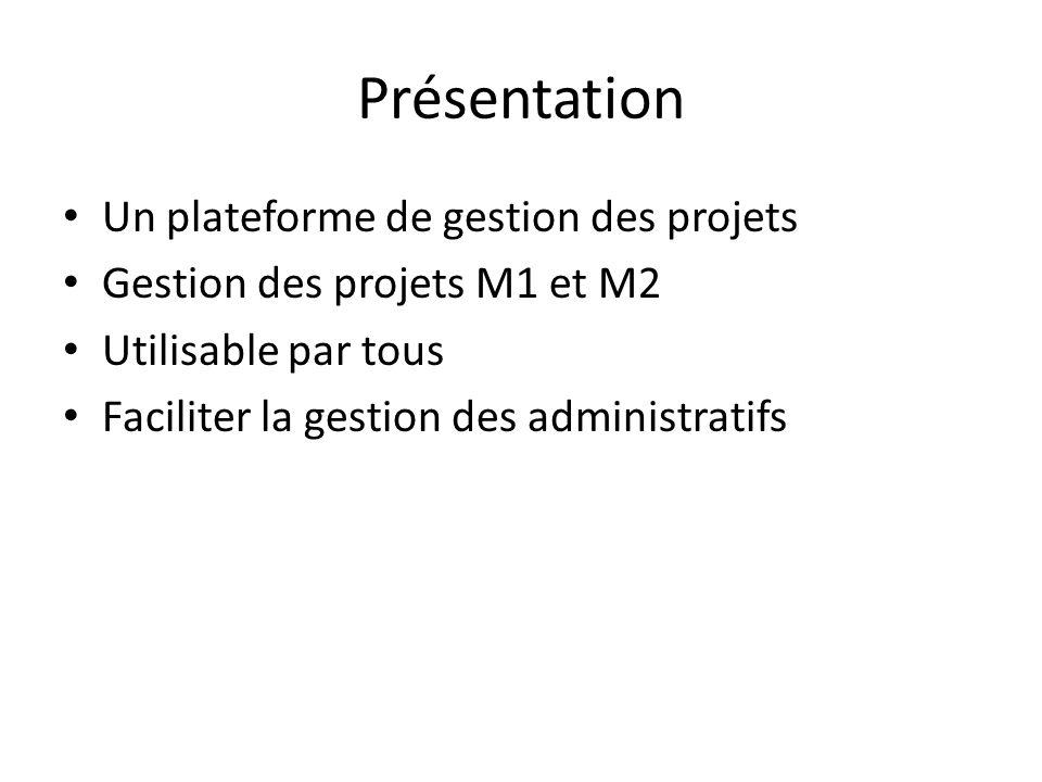 Présentation Un plateforme de gestion des projets Gestion des projets M1 et M2 Utilisable par tous Faciliter la gestion des administratifs