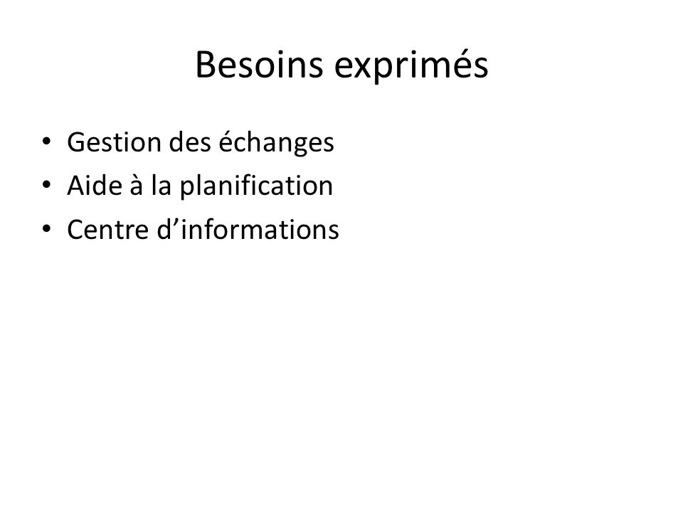 Besoins exprimés Gestion des échanges Aide à la planification Centre dinformations