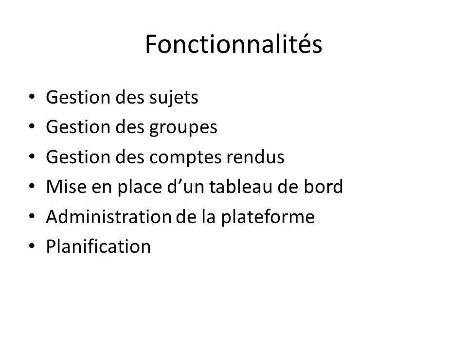 Fonctionnalités Gestion des sujets Gestion des groupes Gestion des comptes rendus Mise en place dun tableau de bord Administration de la plateforme Pl
