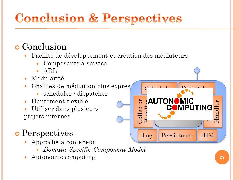 Conclusion Facilité de développement et création des médiateurs Composants à service ADL Modularité Chaines de médiation plus expressives scheduler /