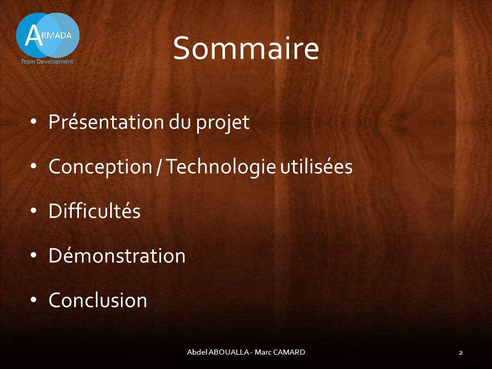 Présentation du projet Abdel ABOUALLA - Marc CAMARD3 Notre projet permet de: - Créer un compte pour participer à une partie - Mettre en place dun réseau client/serveur - Samuser