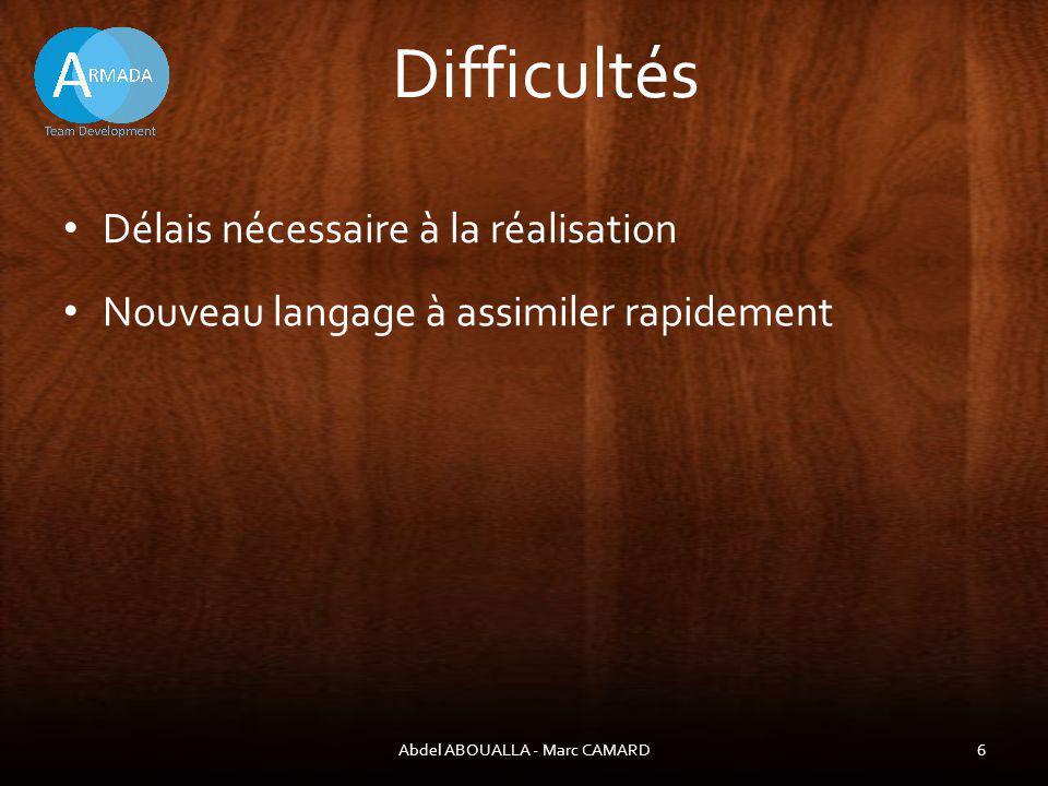 Difficultés Délais nécessaire à la réalisation Abdel ABOUALLA - Marc CAMARD6 Nouveau langage à assimiler rapidement