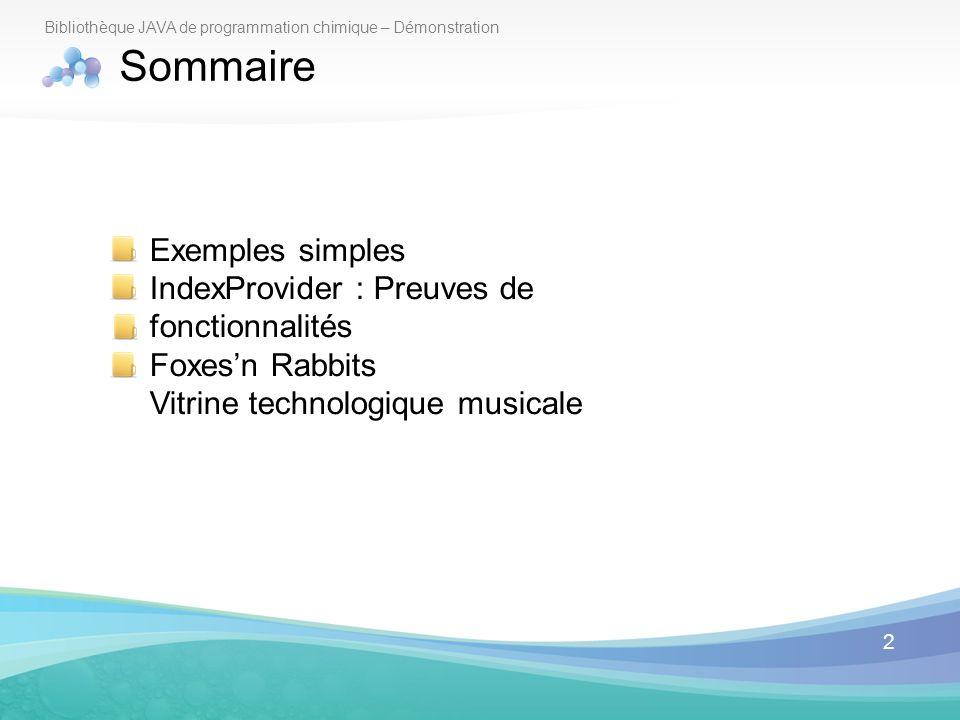 2 Bibliothèque JAVA de programmation chimique – Démonstration Sommaire Exemples simples IndexProvider : Preuves de fonctionnalités Foxesn Rabbits Vitr