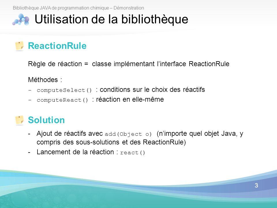 3 Bibliothèque JAVA de programmation chimique – Démonstration Utilisation de la bibliothèque ReactionRule Règle de réaction = classe implémentant lint