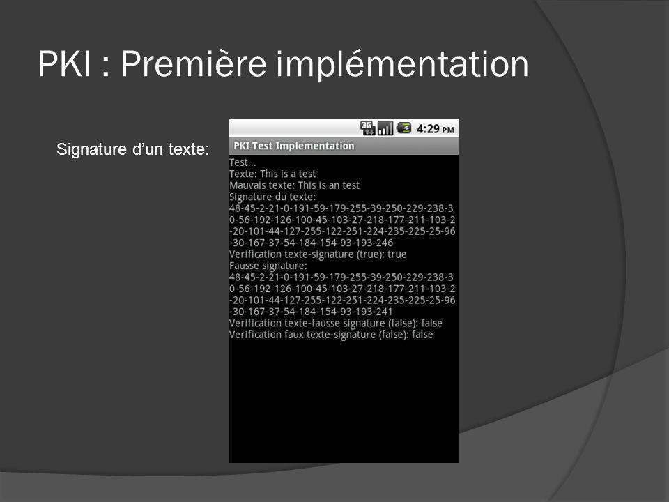 PKI : Première implémentation Signature dun texte: