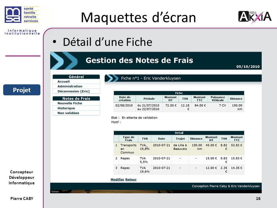 Concepteur Développeur Informatique Pierre CABY16 Maquettes décran Détail dune Fiche Sommaire Entreprise Projet
