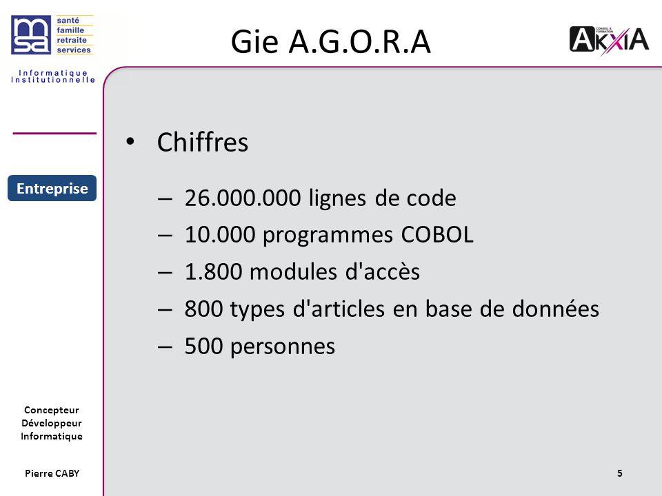 Concepteur Développeur Informatique Pierre CABY5 Gie A.G.O.R.A Chiffres – 26.000.000 lignes de code – 10.000 programmes COBOL – 1.800 modules d accès – 800 types d articles en base de données – 500 personnes Sommaire Entreprise Projet
