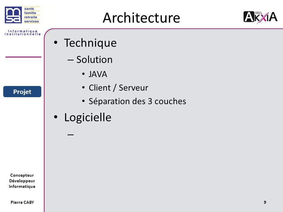 Concepteur Développeur Informatique Pierre CABY9 Architecture Technique – Solution JAVA Client / Serveur Séparation des 3 couches Logicielle – Sommaire Entreprise Projet