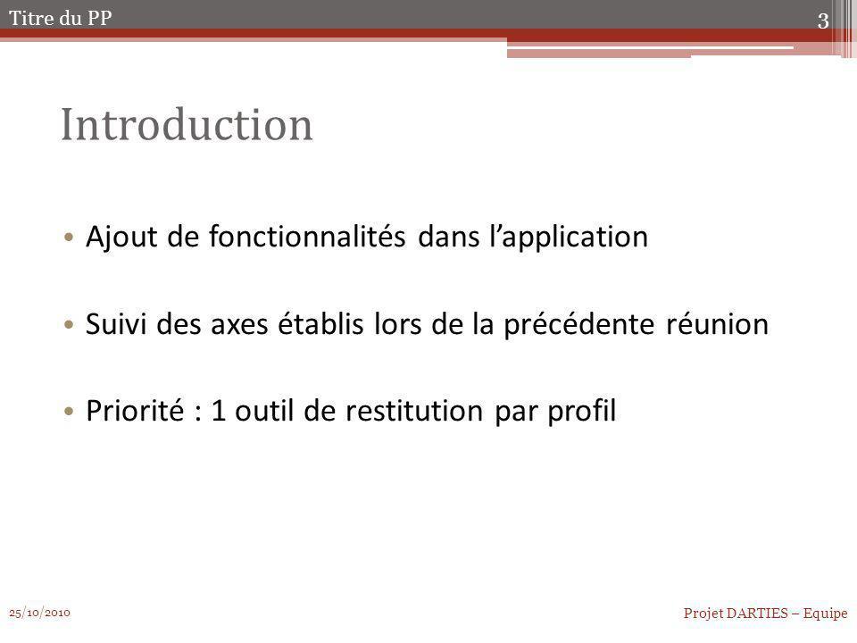 Introduction Ajout de fonctionnalités dans lapplication Suivi des axes établis lors de la précédente réunion Priorité : 1 outil de restitution par pro