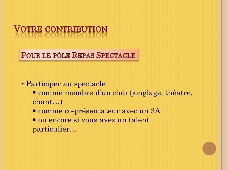 Participer au spectacle comme membre dun club (jonglage, théatre, chant…) comme co-présentateur avec un 3A ou encore si vous avez un talent particulier…