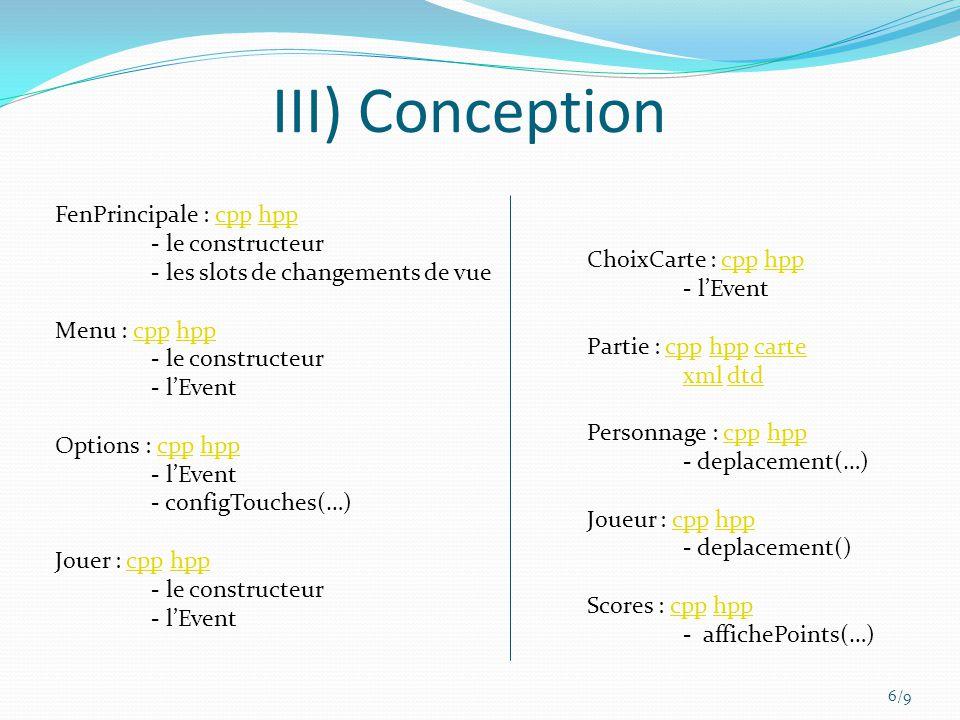 III) Conception 6/9 FenPrincipale : cpp hppcpphpp - le constructeur - les slots de changements de vue Menu : cpp hppcpphpp - le constructeur - lEvent