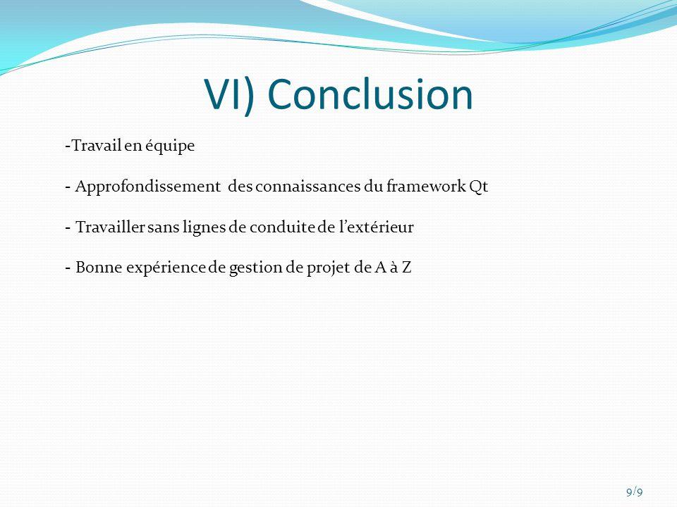VI) Conclusion 9/9 -Travail en équipe - Approfondissement des connaissances du framework Qt - Travailler sans lignes de conduite de lextérieur - Bonne