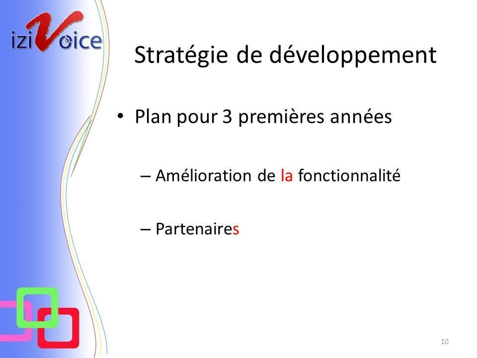 Stratégie de développement 10 Plan pour 3 premières années – Amélioration de la fonctionnalité – Partenaires